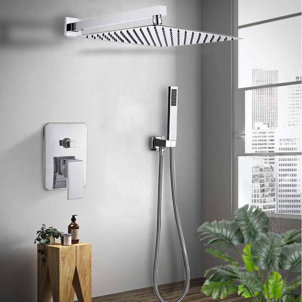 H1f3aece7038547f2a365075cd5f2823fw Rozin Wall Mount Rainfall Shower Faucet Set Chrome Concealed Bathroom Faucets System 16'' Head with Swivel Tub Spout Mixer Tap