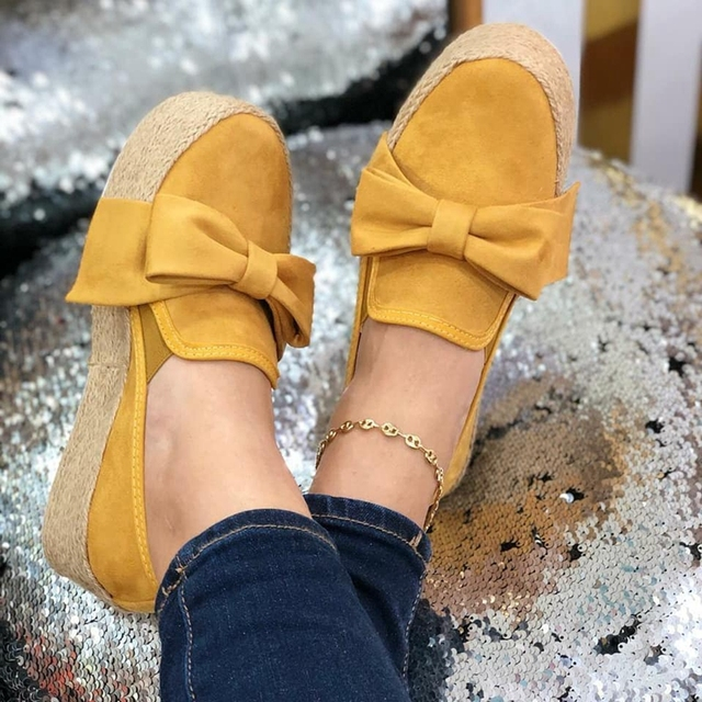 LOOZYKIT 2019 Autumn Women Flats Shoes Platform Sneakers  Slip On Bows Flats Leather Suede Ladies Loafers Moccasins Casual Shoes