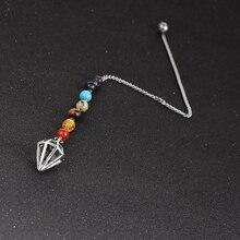 цена на 7 Chakra Yoga Hexagonal Conical Pendulum Reiki Natural Stone Pendant Divination Amulet Women Men Pyramid Pendule Reiki Pendulums