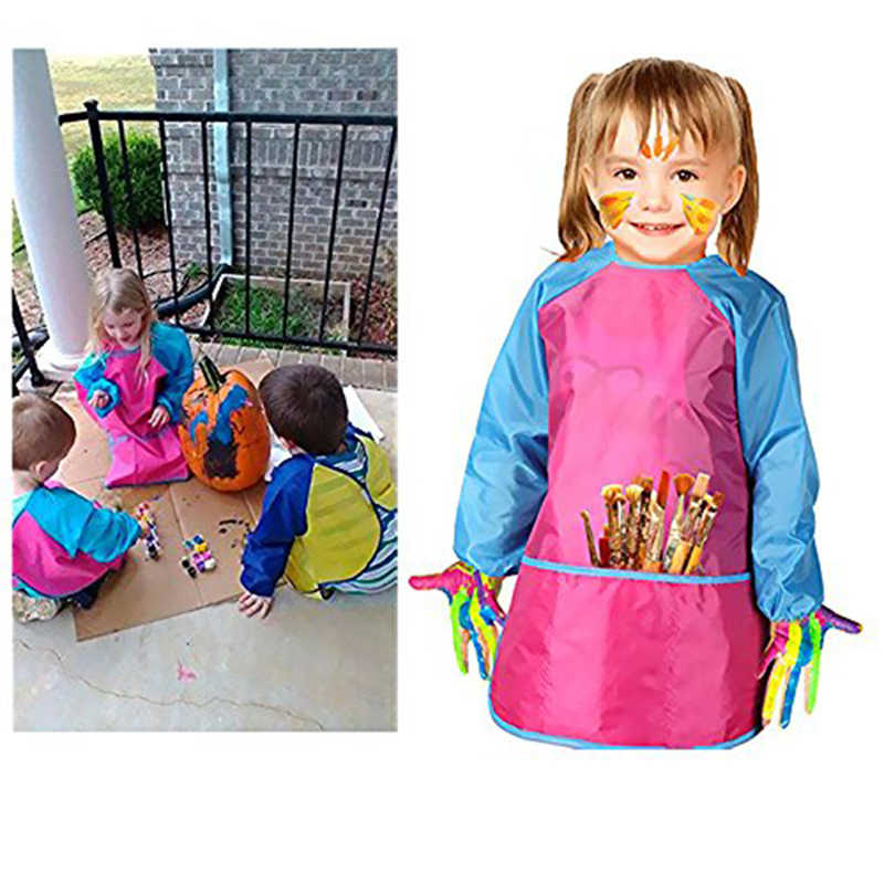 5-8 Years Baby Girl Boy Waterproof Long Sleeve Bibs Toddler Infant Burp Cloth Feeding Child Drawing And Painting Apron
