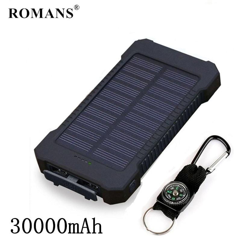 Top Solar PowerBank Waterproof Travel Power Bank 30000mAh External Battery Portable Bateria Poverbank 30000 For Xioami Mi Iphone