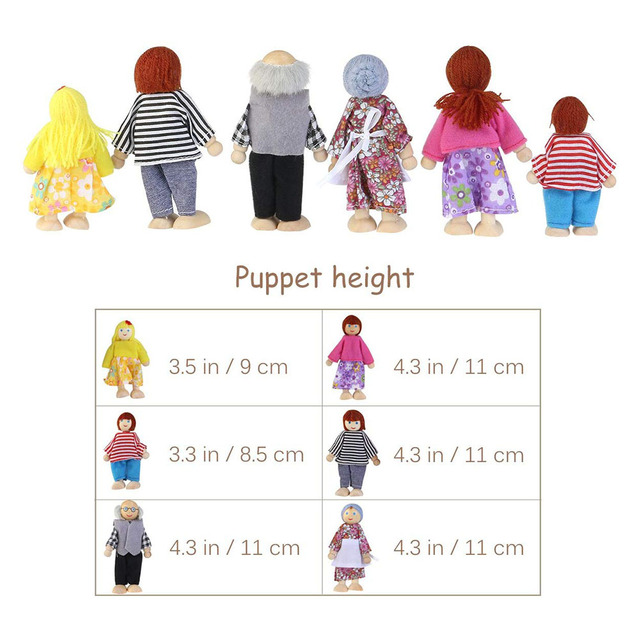 Cute Wooden Happy Family Dressed Puppet Flexible Joints Doll House Accessory Kids Toy Birthday Gift 6