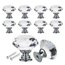 16 sztuk kryształ szklane drzwi gałki jasne pociągnij uchwyt ze stopu cynku ze śrubą do szuflada szafka meble kuchenne dekorowanie domu w Uchwyty szafek od Majsterkowanie na