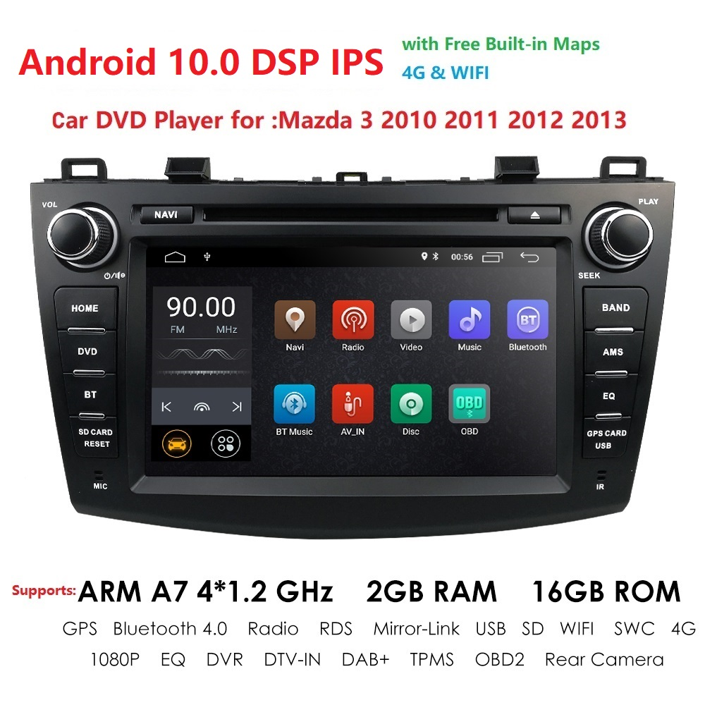 HIZPO For MAZDA 3 2010 2011 2012 2013 Android 10 8 Inch Rom 16GB Car GPS Navigation Radio Multimedia Player AM FM RDS DAB BTTPMS
