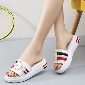 Image 5 - Jzzddown 女性スリッパフラット靴の女性の本革ビーチサンダルレディース高級ベルトプラットフォームスライドフリップは、夏