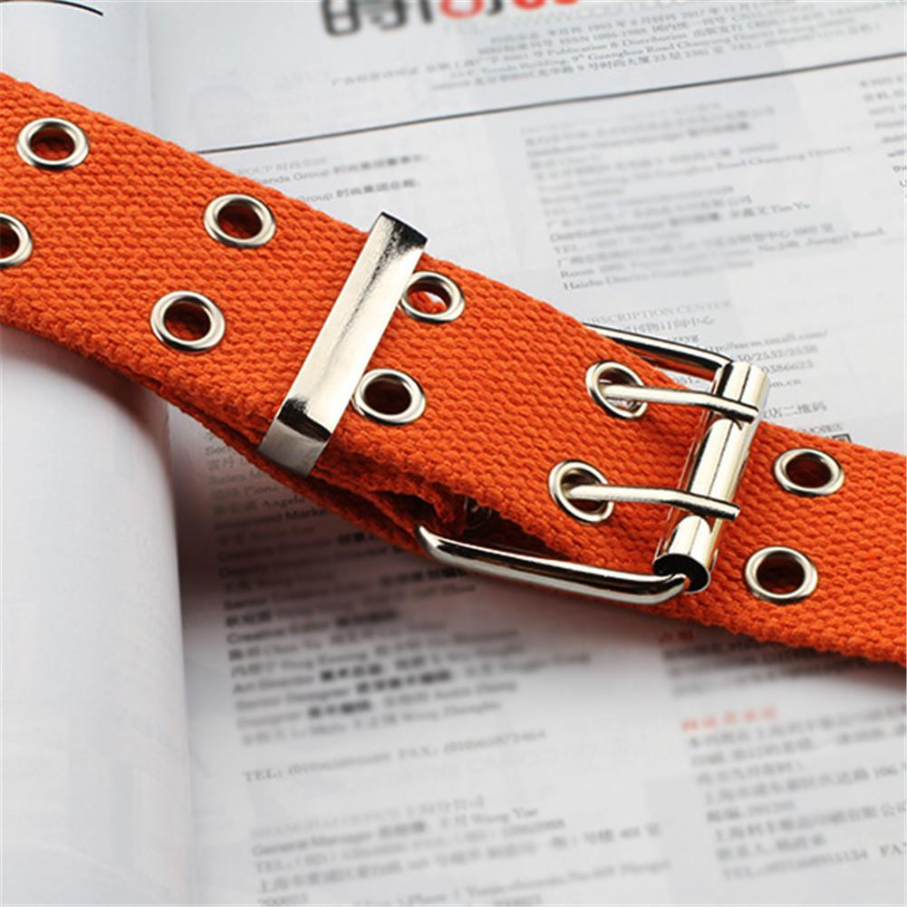 Fashion Canvas Waist Belts Double Hollow Hole Buckle Belt Band Adjustable Waist Strap For Women Men Students Pants Waistband in Men 39 s Belts from Apparel Accessories