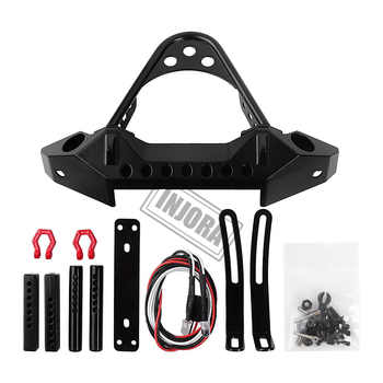 INJORA Metal Black Front Bumper with Light for 1/10 RC Crawler Car Traxxas TRX-4 Axial SCX10 & SCX10 II 90046