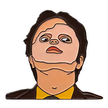 The Office Schrute Masking Enamel Pin Dummy Face Brooch The CPR Episode collections image