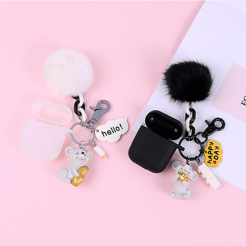 Unique Cute Pvc Resin Lucky Mouse Keychain Lovely Fur Pompom Animal Rat Keyring Holder Women Bag Accessories Charm Jewelry