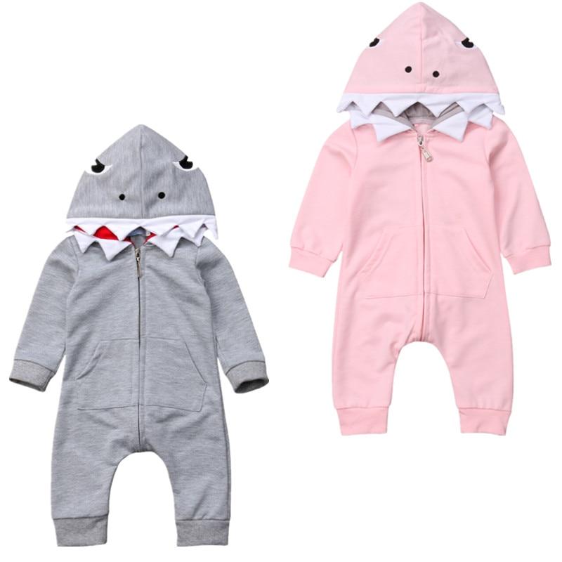 0-24M Brand New Newborn Toddler Baby Boys Girls Shark Long Sleeve   Romper   Playsuit Babygrows Outfits Costume