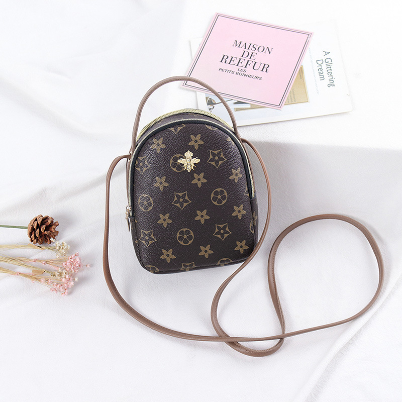 Printing Leather Round Designer Crossbody Bag For Women 2020 PU Leather Shoulder Bags Ladies Small Handbags Phone Mini Tote Bag