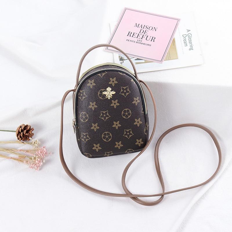 Printing Leather Round Designer Crossbody Bag For Women 2020 PU Leather Shoulder Bags Ladies Small Handbags Phone Mini Tote Bag
