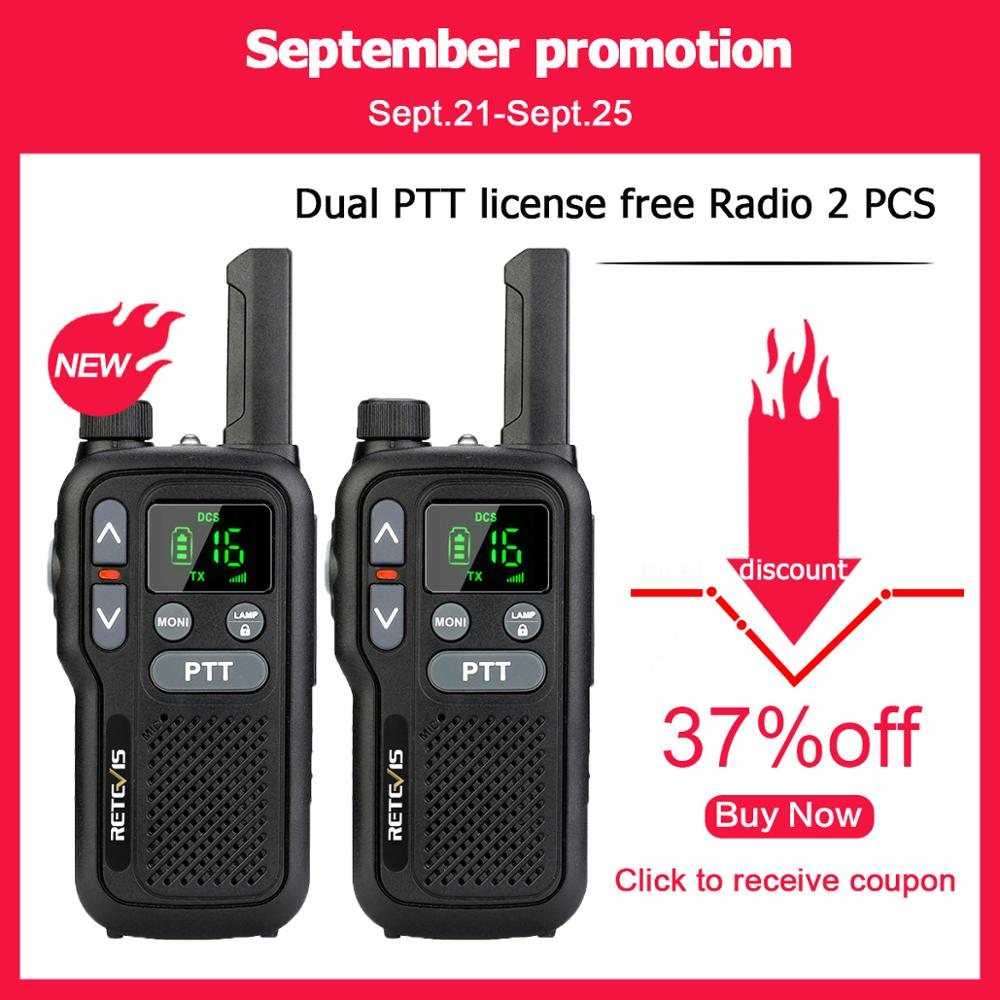 Retevis RB618 RB18 Walkie Talkie 2pcs Dual PTT PMR Radio PMR446 LCD Display FRS NOAA Two Way Radio Transceiver Walkie-talkies