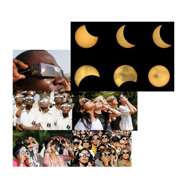 200 teile/los Solar Eclipse Gläser papier rahmen schützen ihre augen Solar Eclipse CE zertifiziert sicherheit acording zu EN12312-22015