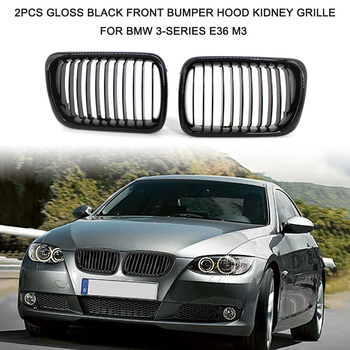 2Pcs Gloss Black Front Bumper Hood Kidney Grille Racing Grille Car Front Grill for BMW 3-Series E36 M3 1997-1999 image