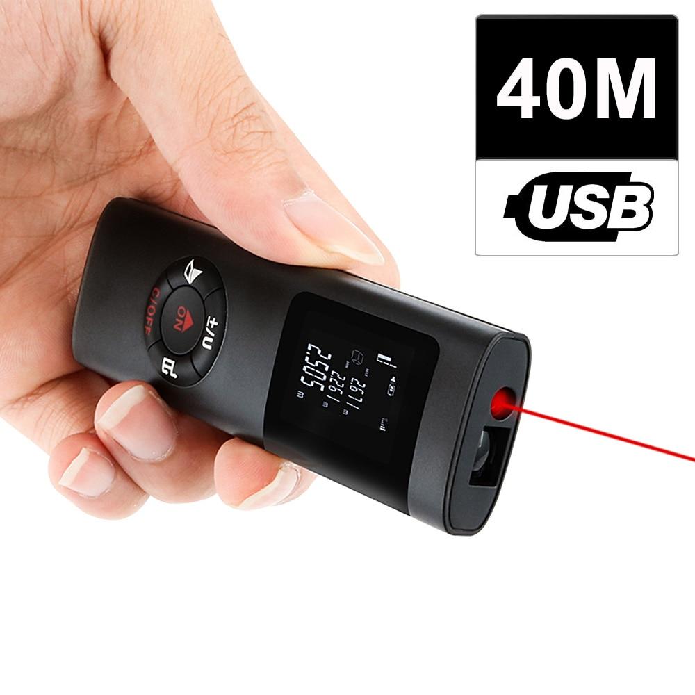 KKMOON Ручной многофункциональный цифровой лазерный дальномер с ЖК-дисплеем 40 м, мини USB-зарядка, лазерный дальномер для украшения интерьера