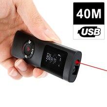 KKMOON ręczny wielofunkcyjny 40M LCD cyfrowy dalmierz laserowy Mini USB ładowanie dalmierz laserowy do dekoracji wnętrz