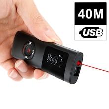 KKMOON telémetro láser Digital multifuncional, telémetro láser Digital LCD de 40M, Mini medidor de distancia láser con carga USB para decoración de interiores