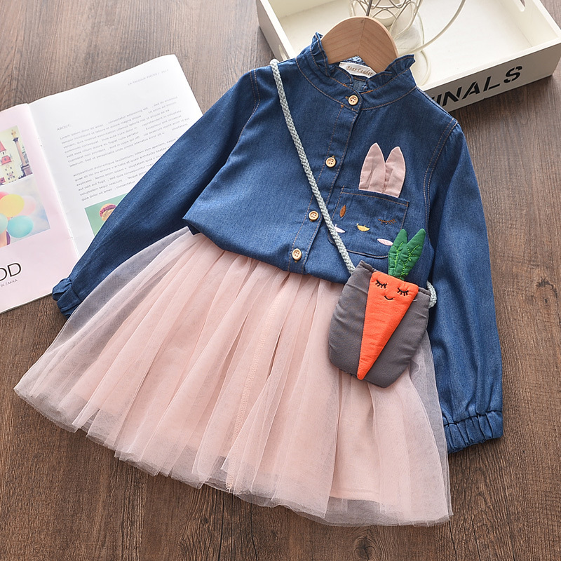 Girls Dress Autumn Princess Animal Pattern Rabbit  Dress For Girls Clothes Children Clothing Tutu Party Style Girls Dresses 4