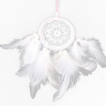 1pc feather pendant Craft Gift white mother hair small dream catcher bag for Home Decoration