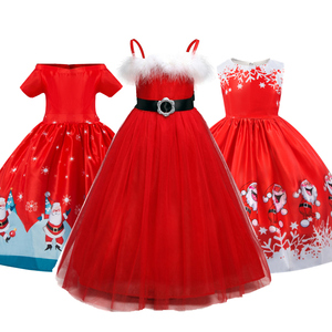 Winter Christmas Dress for Girls Red New Year Costume Snowman Santa Claus Pattern Girls Princess Party Frocks Vestidos Infantil