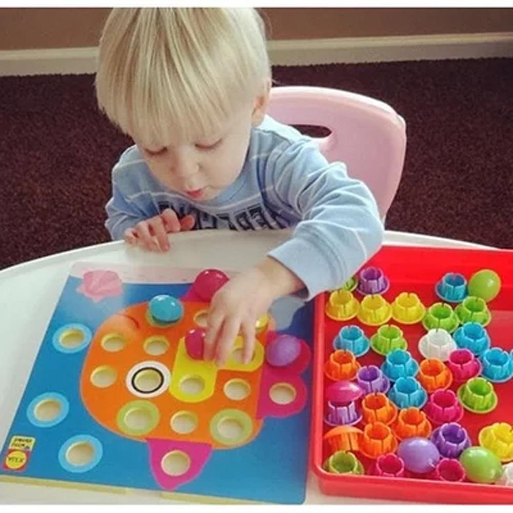 3d quebra-cabeças brinquedos para crianças criativo mosaico cogumelo prego kit botões arte montagem crianças iluminação brinquedos educativos presentes