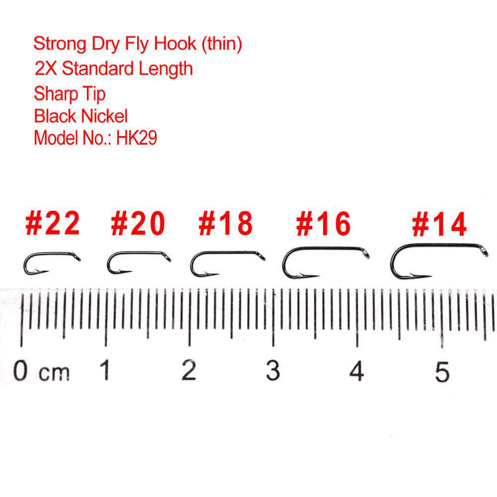 Bimoo 50 cái Câu cá Ruồi Khô Móc 2X Tiêu Chuẩn Dây Nymph Móc Đen Niken Xong Đồ Bay Chất Liệu Kích Cỡ 14 16 18 20 22