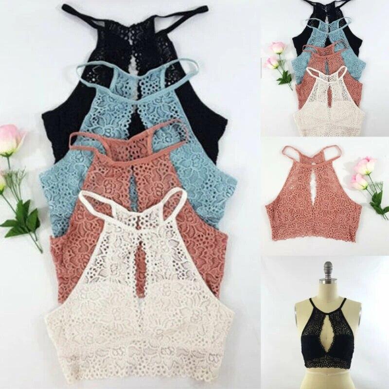 Bralet Bra Cami Tank Top Vest Tops Womens Lace Padded Crop Floral Bralette