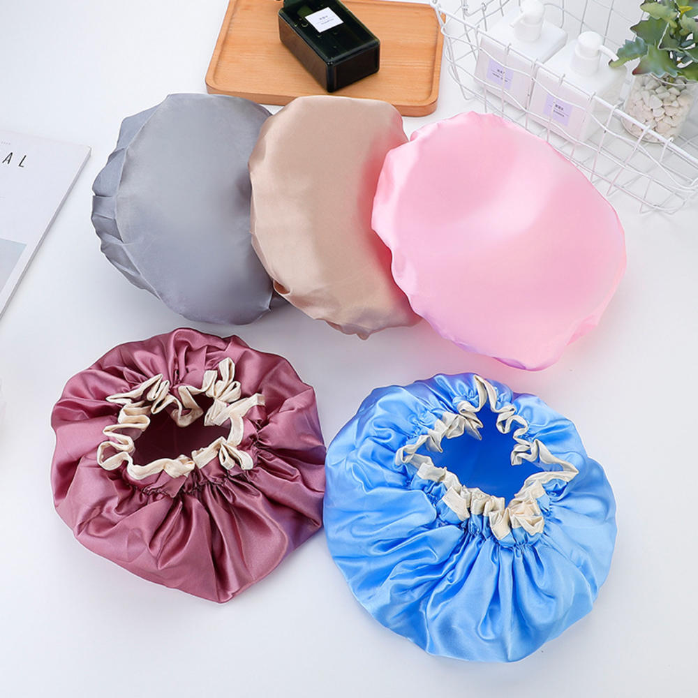 Утолщенная двухслойная Водонепроницаемая шапка для ванны для взрослых, двухслойный чехол для душа, женские принадлежности, шапки для душа, ...
