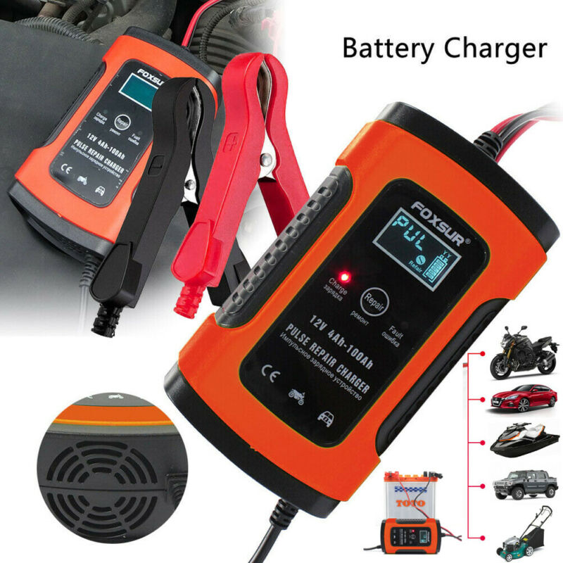12V Lead-acid Battery Charger Maintainer  Trickle Car Motorcycle Volt US