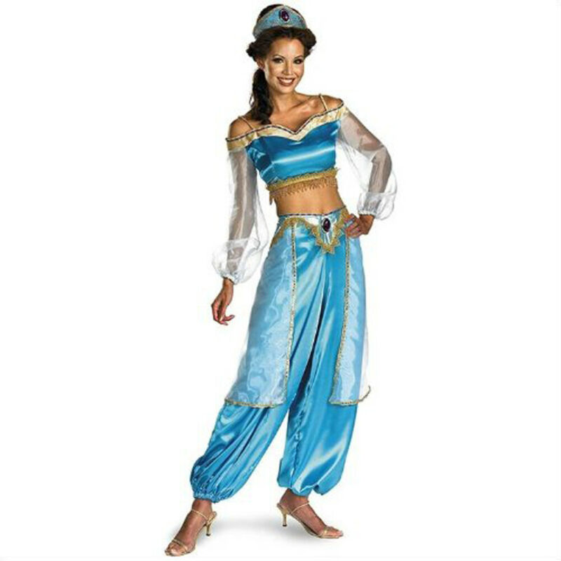 2019 Halloween Aladdin Princess Jasmine Adult Ladies Suit Cosplay Dress Costume Women Girl Fancy Dress Up Party Costume Sets