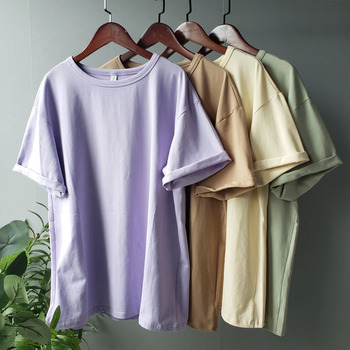 toppies summer t-shirts harajuku oversized womens solid color 95% cotton korean fashion girls tees - discount item  29% OFF Tops & Tees