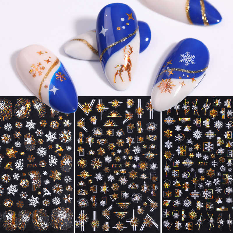 1 Sheet Christmas 3D Nail Stickers Snow Nail Foil Decals Bronzing Leaves Transfer Sliders Manicures Gold DIY Nail Art Decorarion