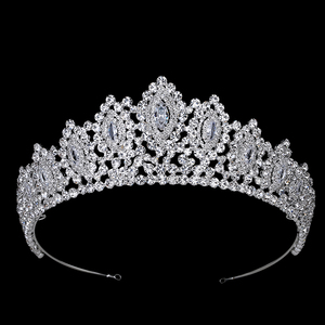 Image 1 - Hadiyana New AAA Rhinestone Crowns Vintage Style Big Eye Shape Wedding Accessories Bridal Hair Tiaras Yellow Gold Party BC3707