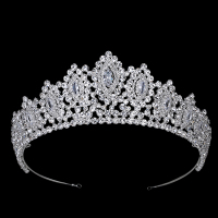 Hadiyana New AAA Rhinestone Crowns Vintage Style Big Eye Shape Wedding Accessories Bridal Hair Tiaras Yellow Gold Party BC3707