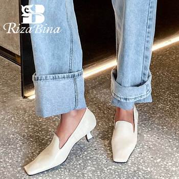 RIZABINA Women Pumps Genuine Leather Vintage Square Toe High Heel Shoes Women Spring Comfort Soft Casual Footwear Size 34-39