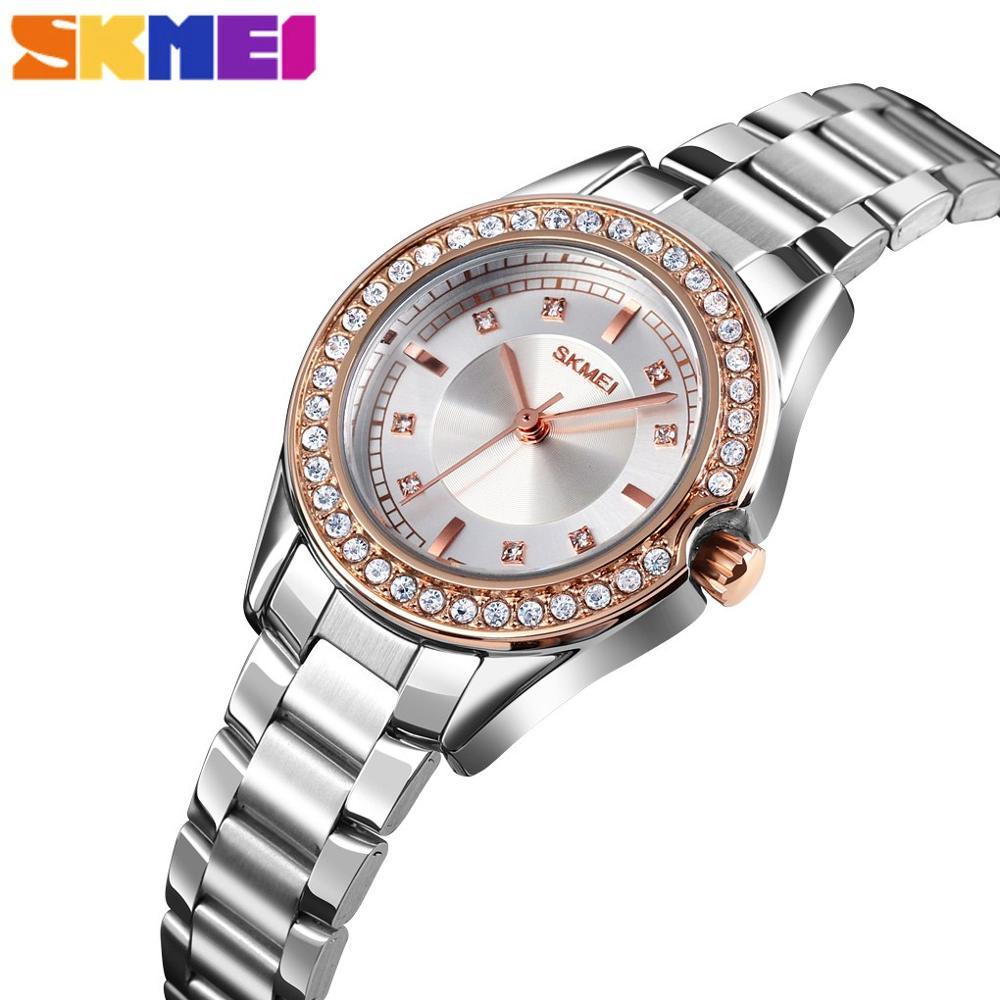 SKMEI Fashion Women Quartz Watch Innovative Design Rhinestone Inlay Case 3Bar Waterproof Stainless Steel Strap Reloj Mujer 1534