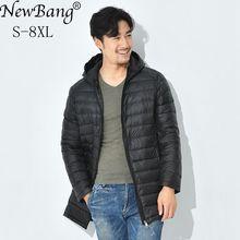 NewBang 7XL 8XL Winter Long Duck Down Jacket Men Feather Parka Man Ultra Light Down Jacket Men Lightweight Warm Puffer Jackets