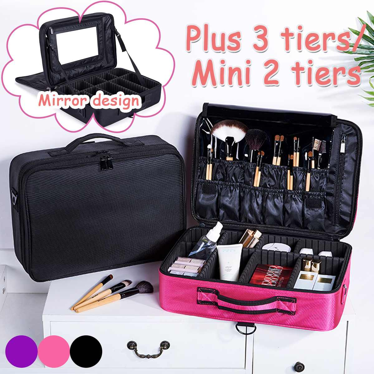 High Quality Make Up Bag Professional Women Makeup Case Makeup Organizer Cosmetic Case Large Capacity Storage Bag