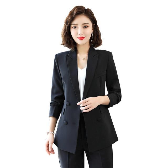 Ladies Autumn Winter Suit Office Work Double Breasted Blazer Trouser Set Fashion Business Pant Suits For Women Formal Pantsuit