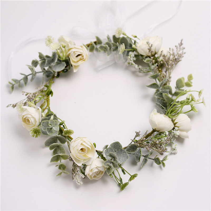 The New  Bridesmaid Handmade Sweet Wreath Europe And America Simulation Flowers Hair Clips Prom Leisure Street Beat Hair Accesso