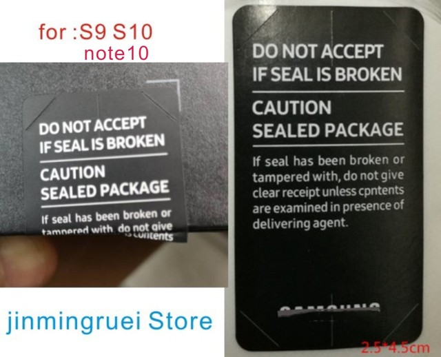 100pcs/lot SIM Card Seal Label Sticker For SAMSUNG Galaxy S8 S9 S10 note10 Phone Package box sealing strip