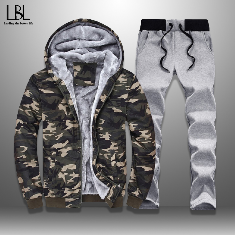 Winter Men Set Fleece Lined Thick Warm Tracksuit Camouflage Hooded Track Suit Male Sweatshirt Suits 2 Piece Set Men's Sportswear