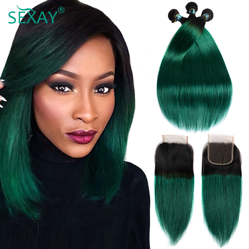 Sexay Pre-Colored Ombre Bundles With Closure 3 Bundles With Closure T1B/ Green Dark Roots Turquoise Silk Straight Human Hair