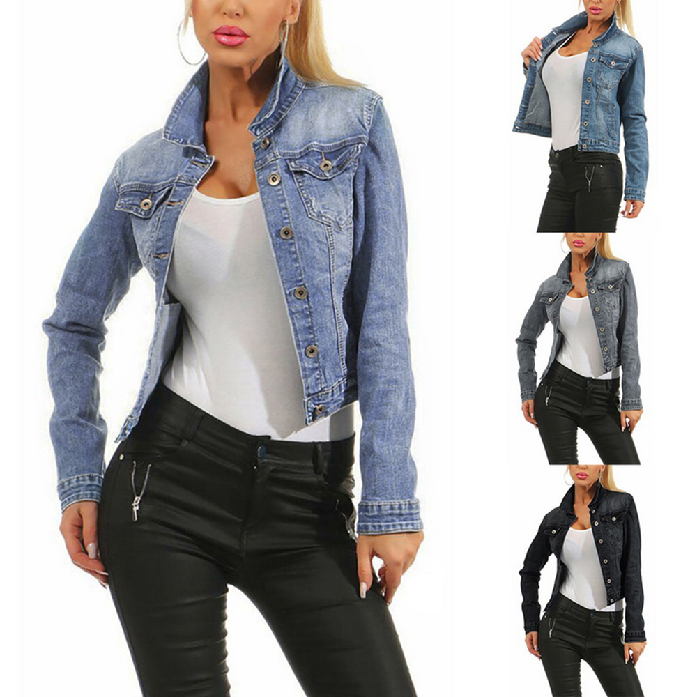2020 Brand Women Jean Jackets Fashion Korean Streetwear Faded Wash Jeans Jacket Ladies Casual Denim Jacket Blue Black