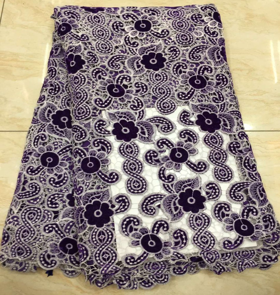 African Lace Fabric Purple Color Guipure Lace Fabric 2020 High Quality Nigerian Cord Lace Fabric For Wedding Dress TS9020