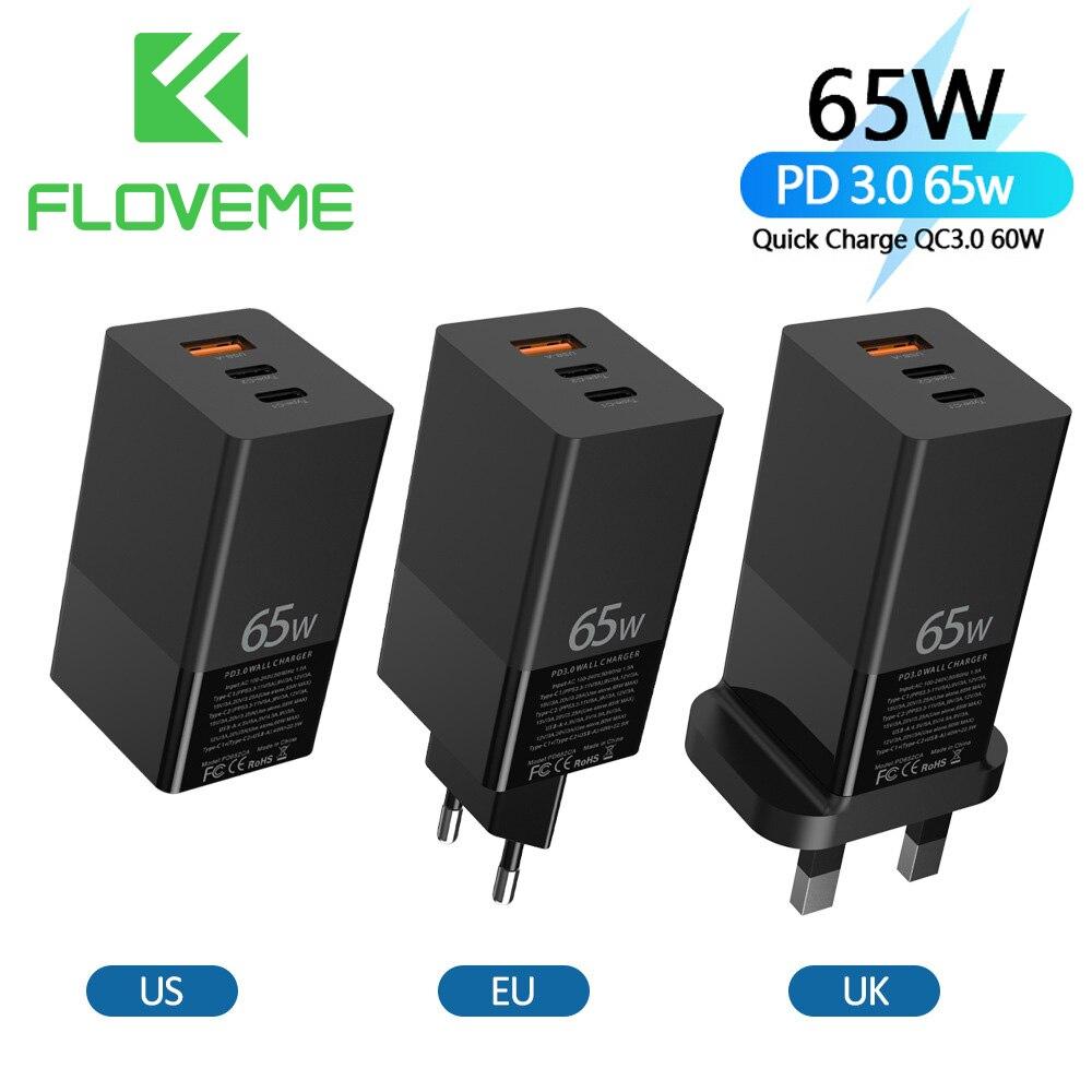 FLOVEME 65W un chargeur Charge rapide 4.0 3.0 45w 20w pour iPhone 12 11 Type C QC3.0 chargeur rapide pour Xiaomi HUAWEI tablette dordinateur portable