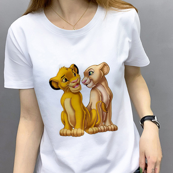 Summer White T-shirt Lion Cartoon Printed T Shirt Women Fashion Casual Harajuku Tshirt Female Graphic Cute Tee Tops Clothes