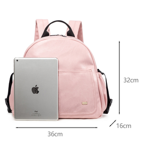 Image 2 - New Fashion Diaper Bag for Mother Pink Large Capacity Solid Baby Bag Backpack with 2 Straps Stylish Maternity Nappy Changing Bag