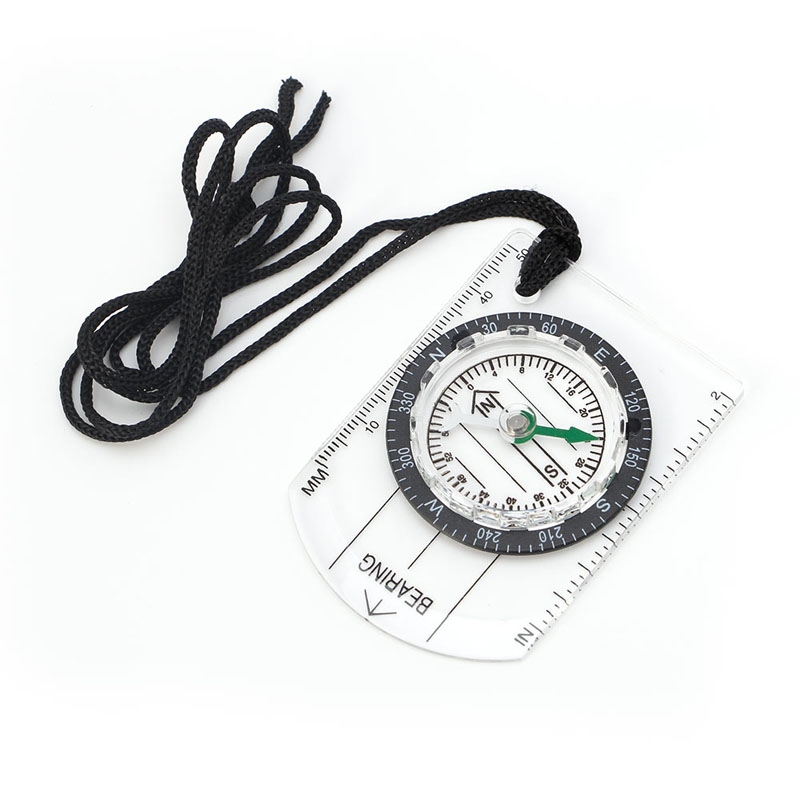 All In 1 Hiking Camping Outdoor Baseplate Compass Map MM INCH Measure Ruler Mini DXAC